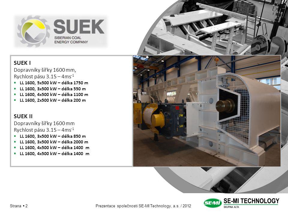 Prezentace společnosti SE-MI Technology, a.s. / 2012Strana  2 SUEK I Dopravníky šířky 1600 mm, Rychlost pásu 3.15 – 4ms -1  LL 1600, 5x500 kW – délk