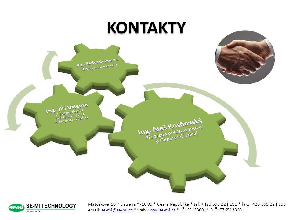 KONTAKTY Matuškova 10 * Ostrava *710 00 * Česká Republika * tel: +420 595 224 111 * fax: +420 595 224 105 email: se-mi@se-mi.cz * web: www.se-mi.cz *