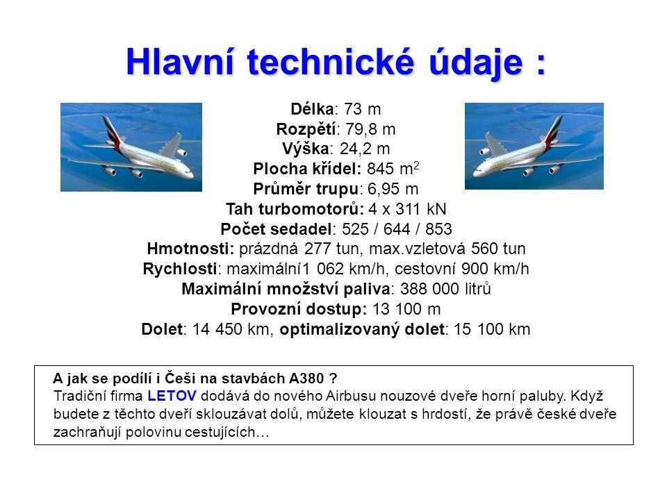 Hlavní technické údaje : Délka: 73 m Rozpětí: 79,8 m Výška: 24,2 m Plocha křídel: 845 m 2 Průměr trupu: 6,95 m Tah turbomotorů: 4 x 311 kN Počet sedadel: 525 / 644 / 853 Hmotnosti: prázdná 277 tun, max.vzletová 560 tun Rychlosti: maximální1 062 km/h, cestovní 900 km/h Maximální množství paliva: 388 000 litrů Provozní dostup: 13 100 m Dolet: 14 450 km, optimalizovaný dolet: 15 100 km A jak se podílí i Češi na stavbách A380 .
