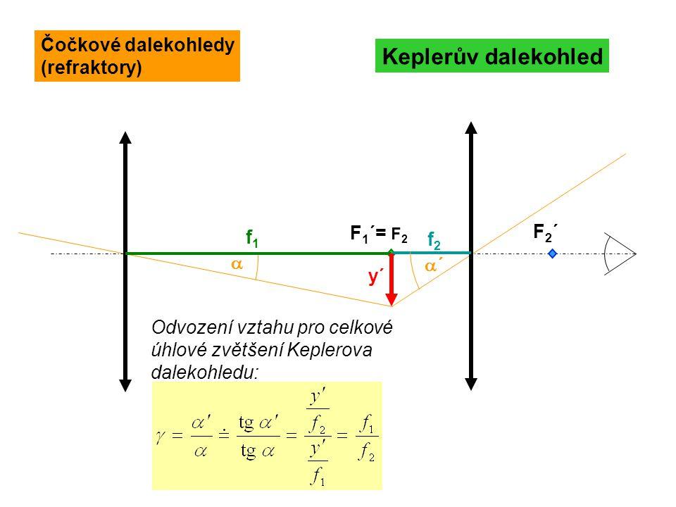 F 1 ´= F 2 F2´F2´ Keplerův dalekohled f1f1  ´´ y´ f2f2 Čočkové dalekohledy (refraktory) Odvození vztahu pro celkové úhlové zvětšení Keplerova dalek