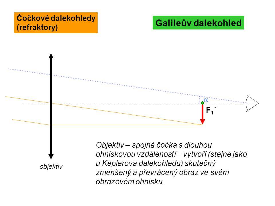 F1´F1´ Galileův dalekohled objektiv Objektiv – spojná čočka s dlouhou ohniskovou vzdáleností – vytvoří (stejně jako u Keplerova dalekohledu) skutečný
