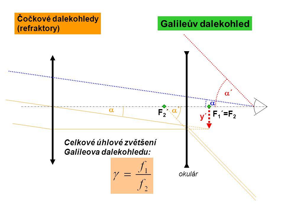 F 1 ´=F 2  Galileův dalekohled F2´F2´ okulár ´´ ´´  y´ Celkové úhlové zvětšení Galileova dalekohledu: Čočkové dalekohledy (refraktory)