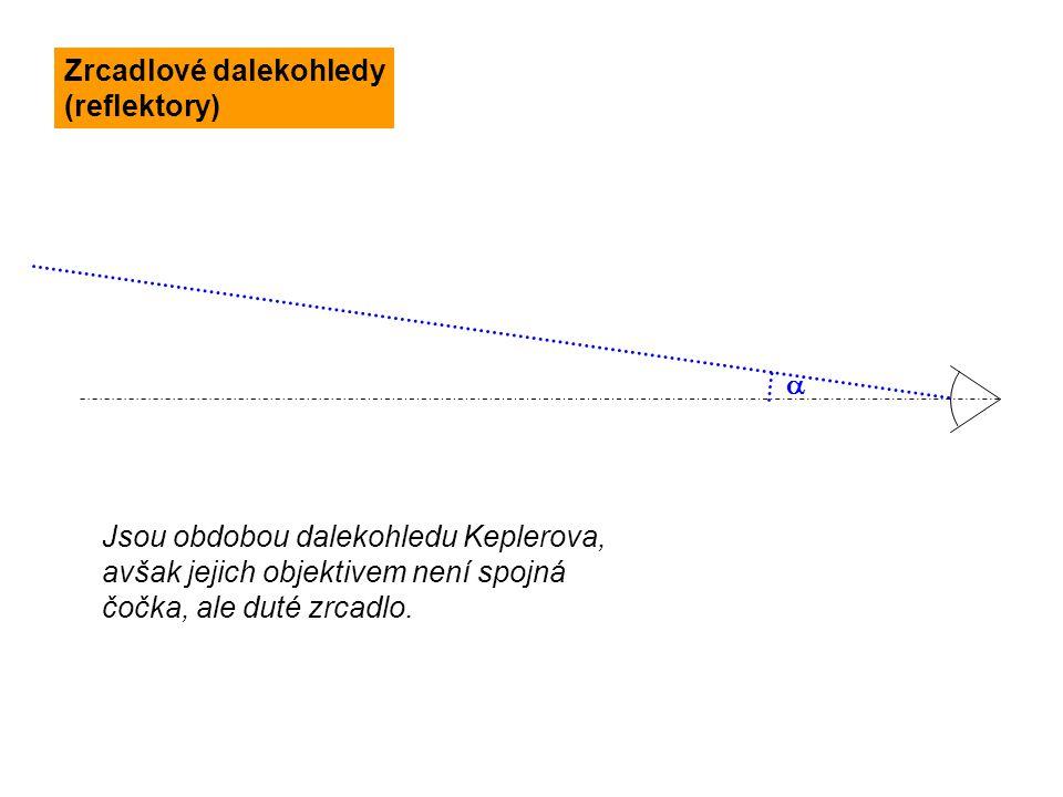  Jsou obdobou dalekohledu Keplerova, avšak jejich objektivem není spojná čočka, ale duté zrcadlo. Zrcadlové dalekohledy (reflektory)