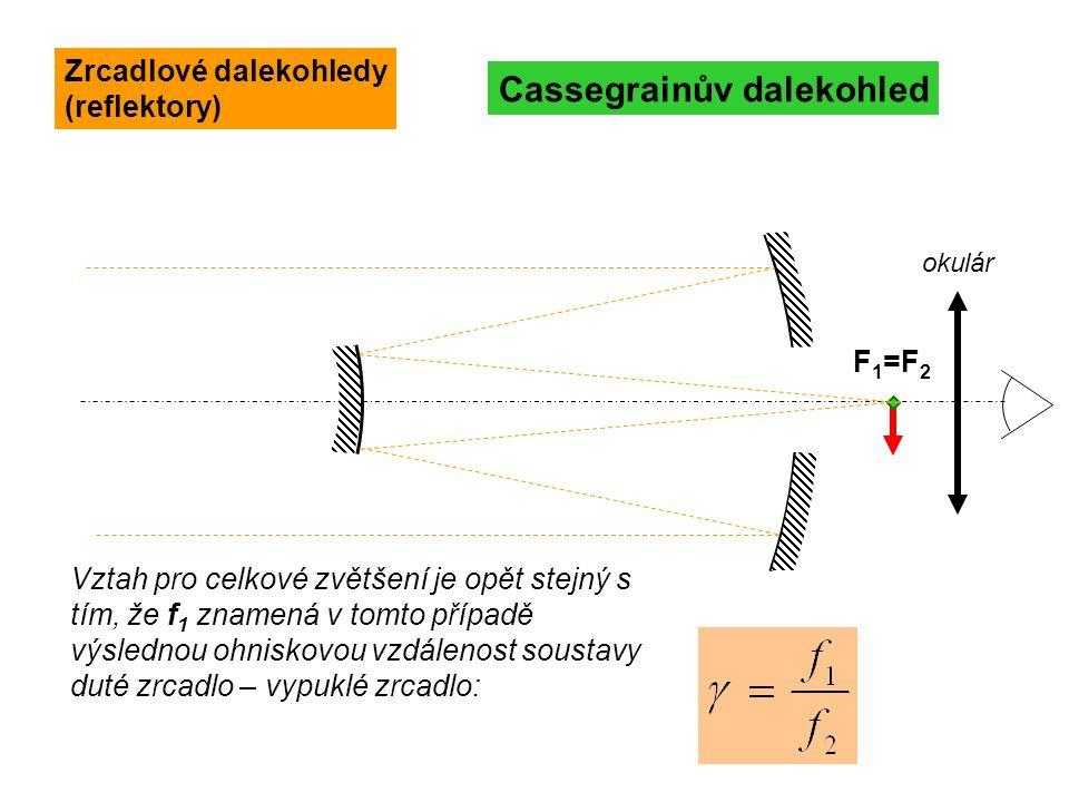 Vztah pro celkové zvětšení je opět stejný s tím, že f 1 znamená v tomto případě výslednou ohniskovou vzdálenost soustavy duté zrcadlo – vypuklé zrcadl