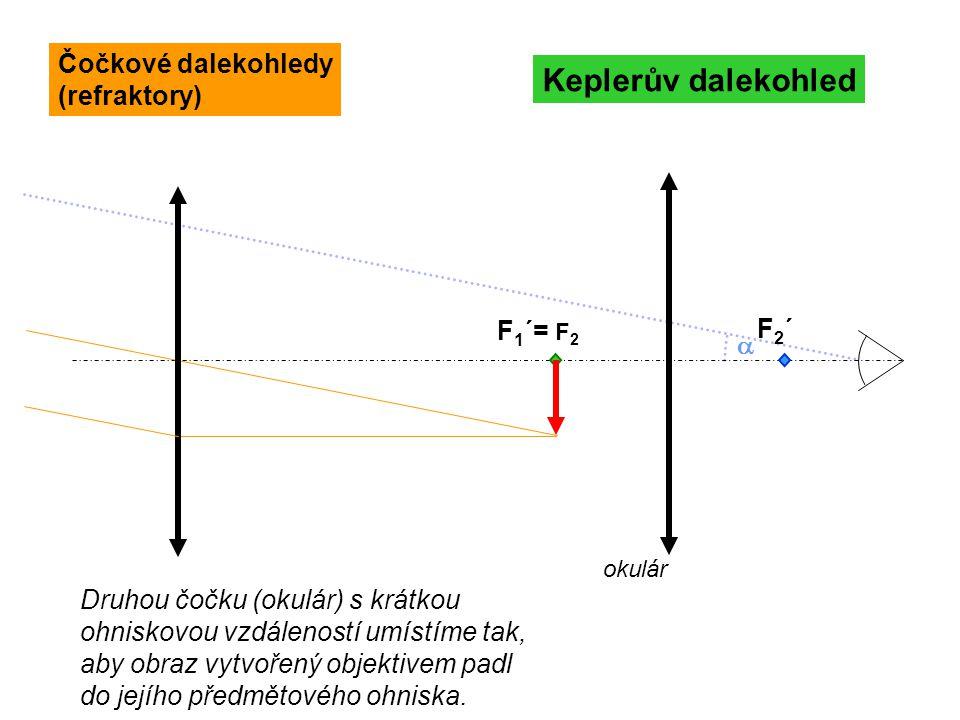 Newtonův dalekohled F 1 =F 2 ´´ ´´  Geometricky je situace obdobná Keplerovu dalekohledu, proto i vztah pro zvětšení je stejný: Zrcadlové dalekohledy (reflektory)