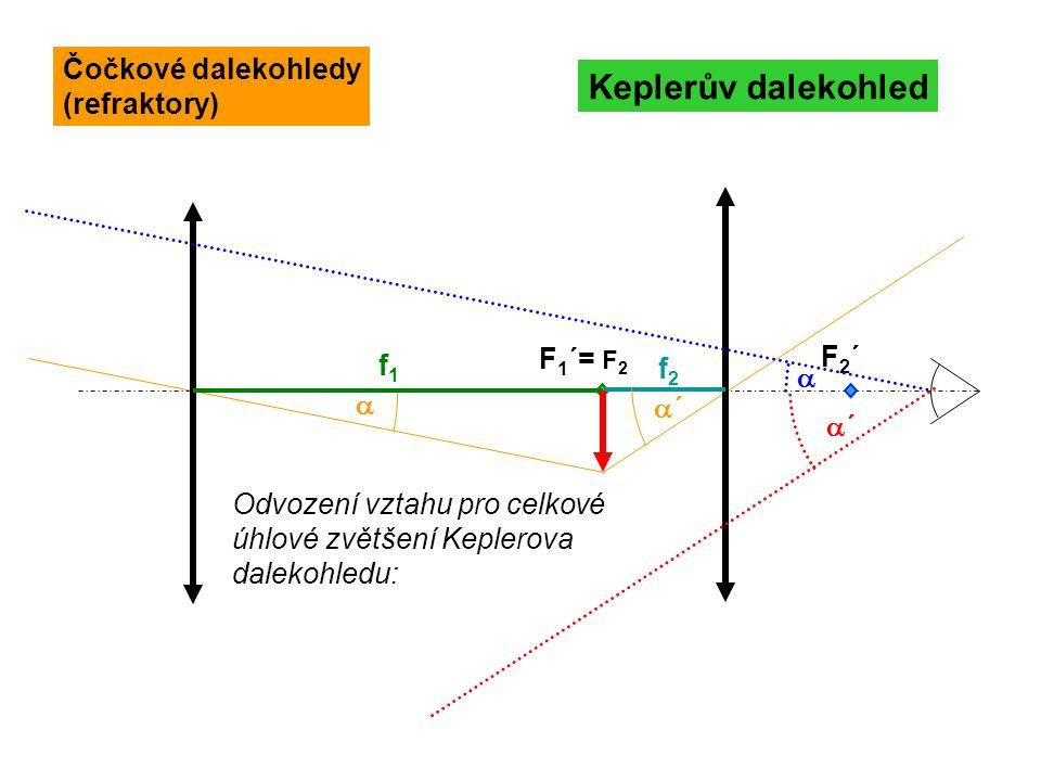 Vztah pro celkové zvětšení je opět stejný s tím, že f 1 znamená v tomto případě výslednou ohniskovou vzdálenost soustavy duté zrcadlo – vypuklé zrcadlo: okulár F 1 =F 2 Cassegrainův dalekohled Zrcadlové dalekohledy (reflektory)