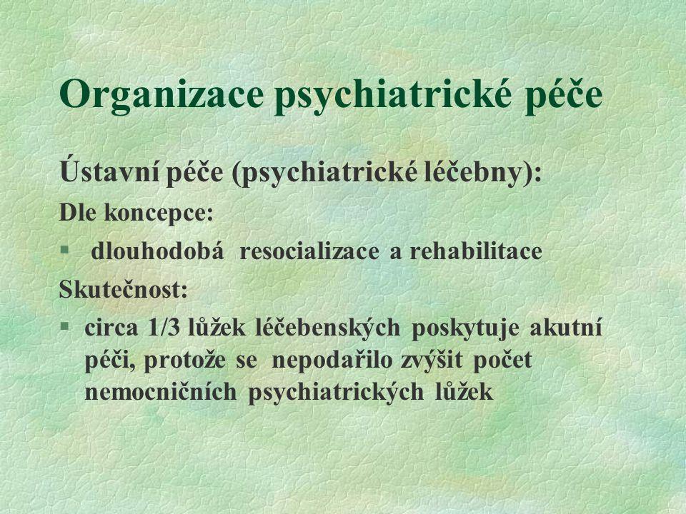 Organizace psychiatrické péče Ústavní péče (psychiatrické léčebny): Dle koncepce:  dlouhodobá resocializace a rehabilitace Skutečnost:  circa 1/3 lůžek léčebenských poskytuje akutní péči, protože se nepodařilo zvýšit počet nemocničních psychiatrických lůžek