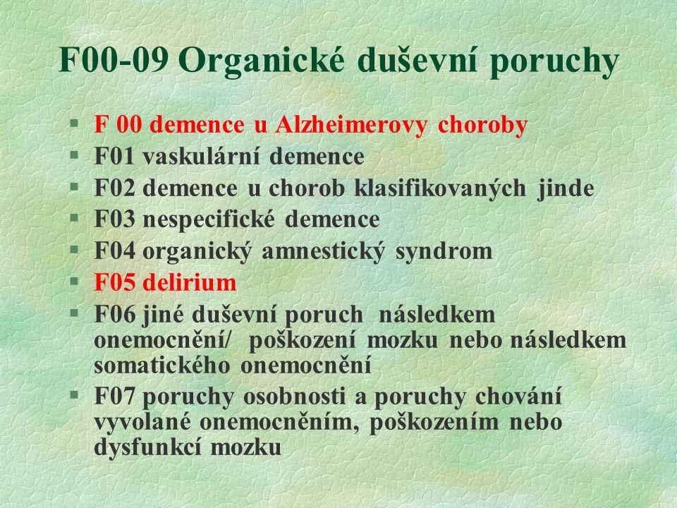 F00-09 Organické duševní poruchy §F 00 demence u Alzheimerovy choroby §F01 vaskulární demence §F02 demence u chorob klasifikovaných jinde §F03 nespecifické demence §F04 organický amnestický syndrom §F05 delirium §F06 jiné duševní poruch následkem onemocnění/ poškození mozku nebo následkem somatického onemocnění §F07 poruchy osobnosti a poruchy chování vyvolané onemocněním, poškozením nebo dysfunkcí mozku