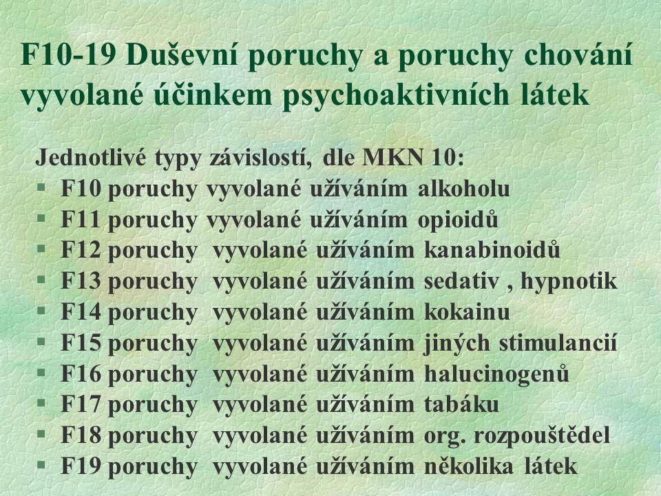 F10-19 Duševní poruchy a poruchy chování vyvolané účinkem psychoaktivních látek Jednotlivé typy závislostí, dle MKN 10: §F10 poruchy vyvolané užíváním alkoholu §F11 poruchy vyvolané užíváním opioidů §F12 poruchy vyvolané užíváním kanabinoidů §F13 poruchy vyvolané užíváním sedativ, hypnotik §F14 poruchy vyvolané užíváním kokainu §F15 poruchy vyvolané užíváním jiných stimulancií §F16 poruchy vyvolané užíváním halucinogenů §F17 poruchy vyvolané užíváním tabáku §F18 poruchy vyvolané užíváním org.