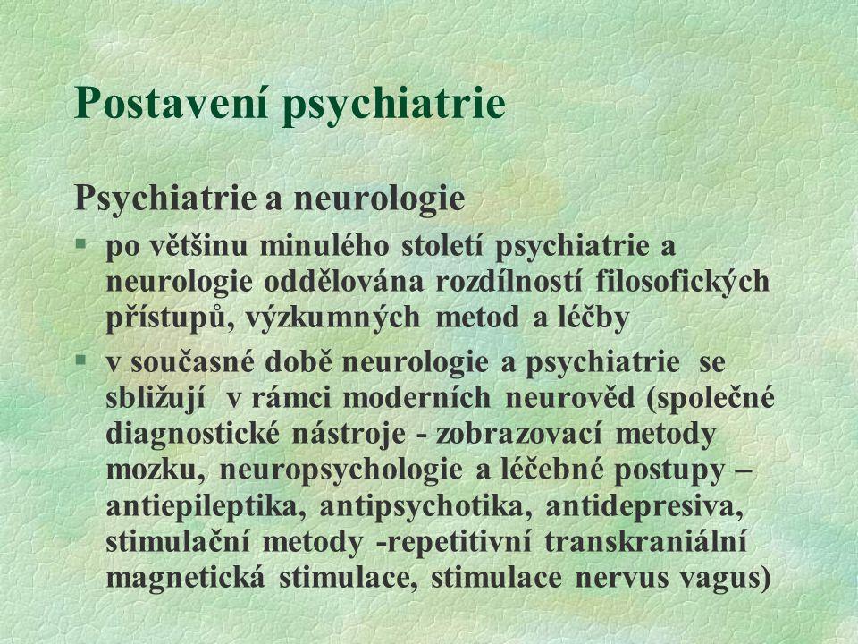 Postavení psychiatrie Psychiatrie a neurologie §po většinu minulého století psychiatrie a neurologie oddělována rozdílností filosofických přístupů, výzkumných metod a léčby  v současné době neurologie a psychiatrie se sbližují v rámci moderních neurověd (společné diagnostické nástroje - zobrazovací metody mozku, neuropsychologie a léčebné postupy – antiepileptika, antipsychotika, antidepresiva, stimulační metody -repetitivní transkraniální magnetická stimulace, stimulace nervus vagus)