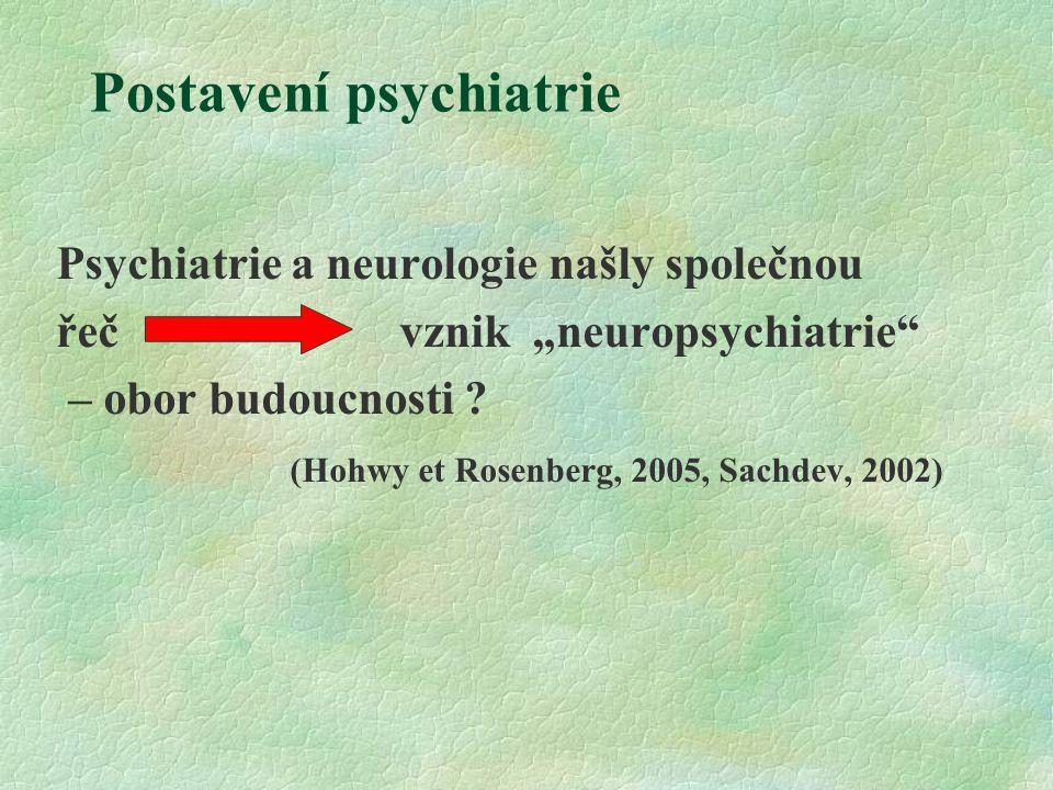 """Postavení psychiatrie Psychiatrie a neurologie našly společnou řeč vznik """"neuropsychiatrie – obor budoucnosti ."""