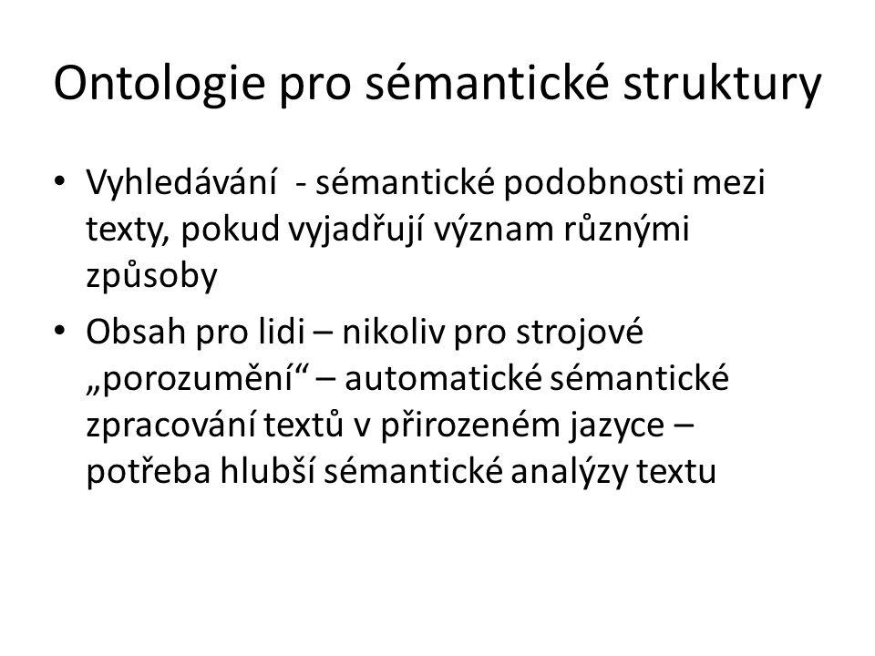 """Ontologie pro sémantické struktury Vyhledávání - sémantické podobnosti mezi texty, pokud vyjadřují význam různými způsoby Obsah pro lidi – nikoliv pro strojové """"porozumění – automatické sémantické zpracování textů v přirozeném jazyce – potřeba hlubší sémantické analýzy textu"""