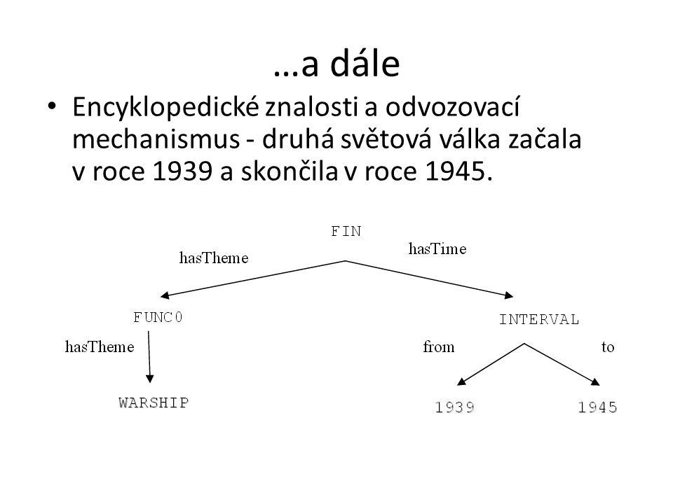 …a dále Encyklopedické znalosti a odvozovací mechanismus - druhá světová válka začala v roce 1939 a skončila v roce 1945.