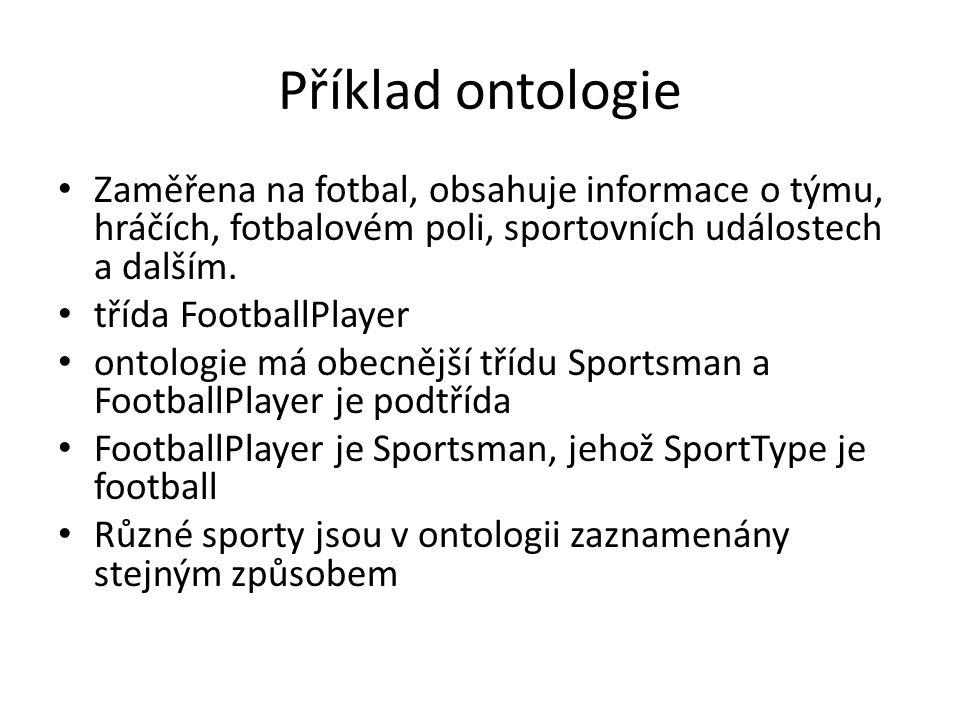 Příklad ontologie Zaměřena na fotbal, obsahuje informace o týmu, hráčích, fotbalovém poli, sportovních událostech a dalším.