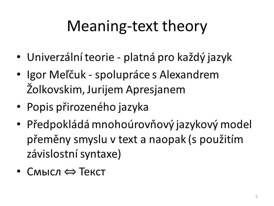 Meaning-text theory Univerzální teorie - platná pro každý jazyk Igor Meľčuk - spolupráce s Alexandrem Žolkovskim, Jurijem Apresjanem Popis přirozeného jazyka Předpokládá mnohoúrovňový jazykový model přeměny smyslu v text a naopak (s použitím závislostní syntaxe) Смысл ⇔ Текст 5