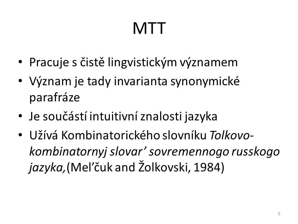 MTT Pracuje s čistě lingvistickým významem Význam je tady invarianta synonymické parafráze Je součástí intuitivní znalosti jazyka Užívá Kombinatorického slovníku Tolkovo- kombinatornyj slovar' sovremennogo russkogo jazyka,(Mel'čuk and Žolkovski, 1984) 9
