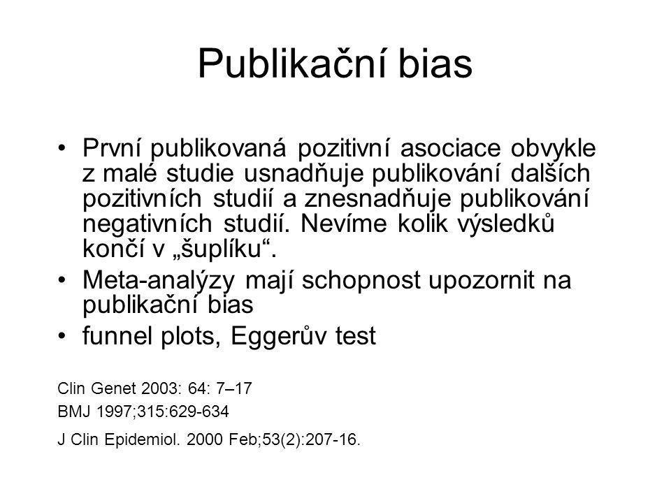 Publikační bias První publikovaná pozitivní asociace obvykle z malé studie usnadňuje publikování dalších pozitivních studií a znesnadňuje publikování negativních studií.