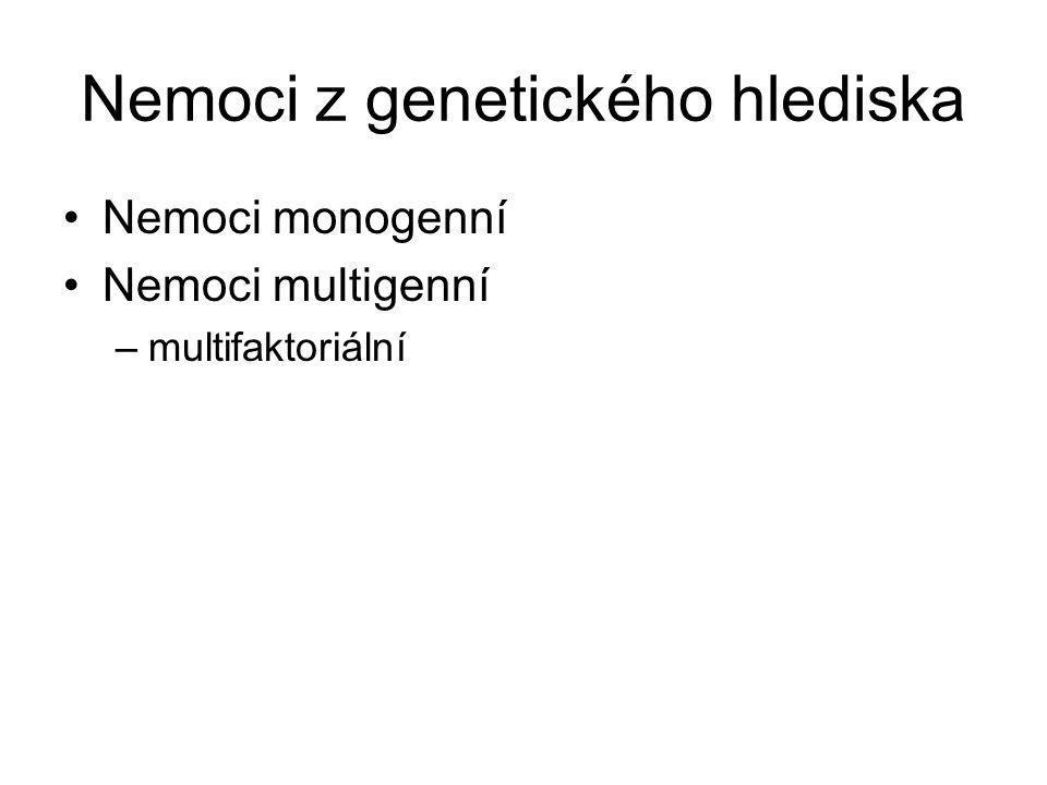Nemoci z genetického hlediska Nemoci monogenní Nemoci multigenní –multifaktoriální