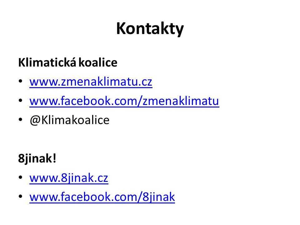 Kontakty Klimatická koalice www.zmenaklimatu.cz www.facebook.com/zmenaklimatu @Klimakoalice 8jinak.