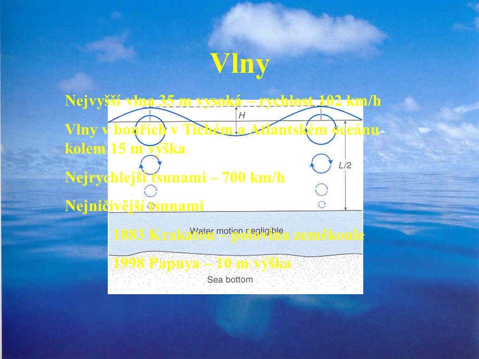 Vlny Nejvyšší vlna 35 m vysoká – rychlost 102 km/h Vlny v bouřích v Tichém a Atlantském oceánu kolem 15 m výška Nejrychlejší tsunami – 700 km/h Nejničivější tsunami 1883 Krakatou – polovina zeměkoule 1998 Papuya – 10 m výška