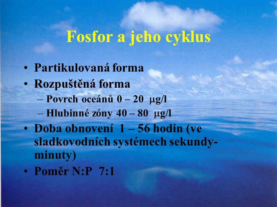 Fosfor a jeho cyklus Partikulovaná forma Rozpuštěná forma –Povrch oceánů 0 – 20  g/l –Hlubinné zóny 40 – 80  g/l Doba obnovení 1 – 56 hodin (ve sladkovodních systémech sekundy- minuty) Poměr N:P 7:1