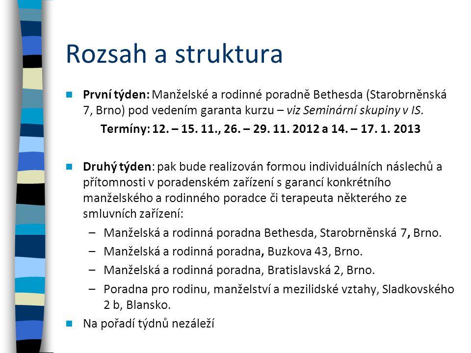 Rozsah a struktura První týden: Manželské a rodinné poradně Bethesda (Starobrněnská 7, Brno) pod vedením garanta kurzu – viz Seminární skupiny v IS.