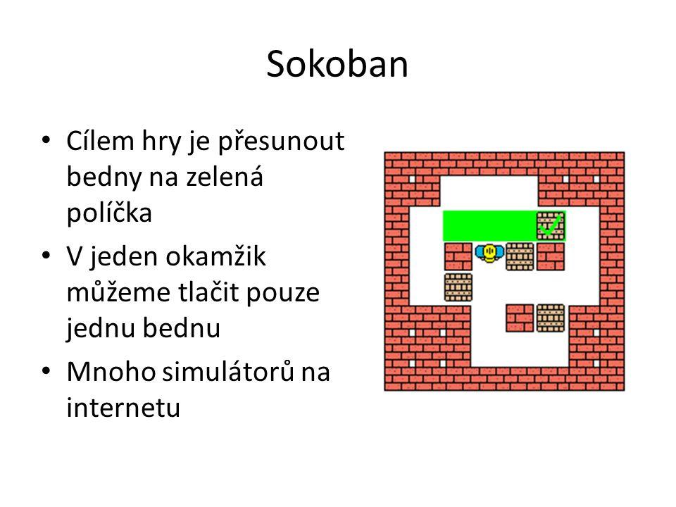 Sokoban Cílem hry je přesunout bedny na zelená políčka V jeden okamžik můžeme tlačit pouze jednu bednu Mnoho simulátorů na internetu