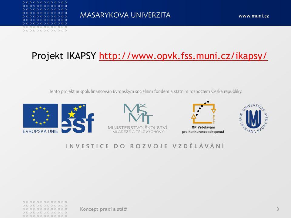Koncept praxí a stáží3 Projekt IKAPSY http://www.opvk.fss.muni.cz/ikapsy/http://www.opvk.fss.muni.cz/ikapsy/