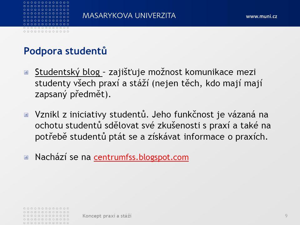 Koncept praxí a stáží9 Podpora studentů Studentský blog – zajišťuje možnost komunikace mezi studenty všech praxí a stáží (nejen těch, kdo mají mají zapsaný předmět).