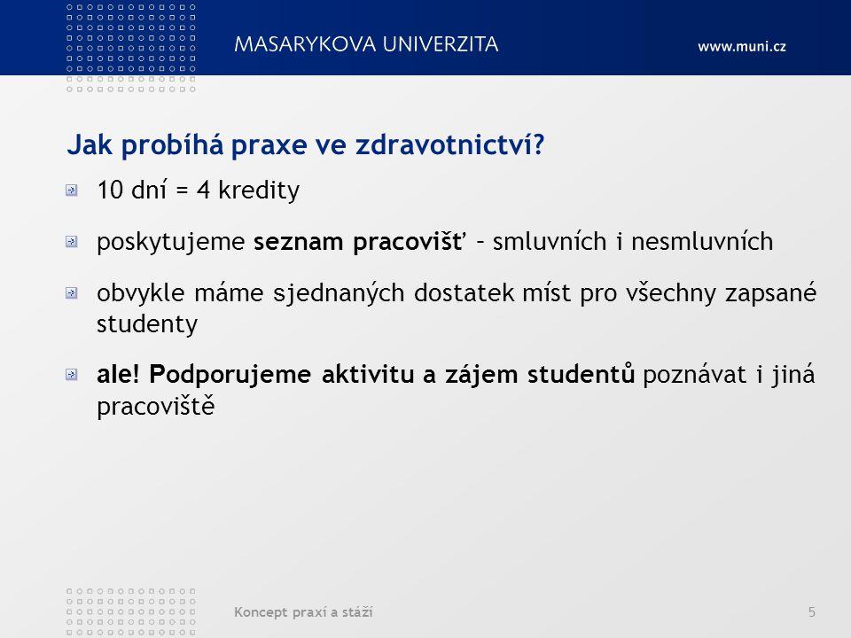 Koncept praxí a stáží6 Podmínky praxe p ředpokladem je absolvování předmětu Klinická psychologie I.