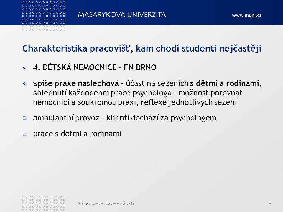 Název prezentace v zápatí9 Charakteristika pracovišť, kam chodí studenti nejčastěji 4.