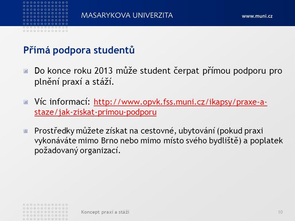 Koncept praxí a stáží10 Přímá podpora studentů Do konce roku 2013 může student čerpat přímou podporu pro plnění praxí a stáží. Víc informací: http://w
