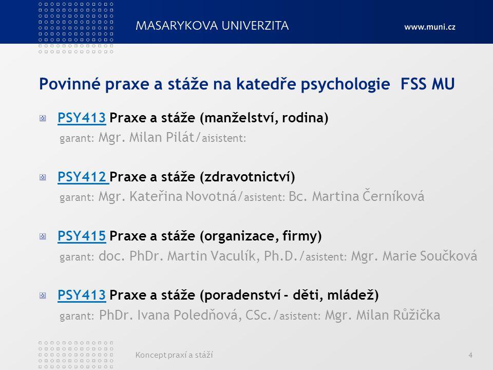 Koncept praxí a stáží4 Povinné praxe a stáže na katedře psychologie FSS MU PSY413 Praxe a stáže (manželství, rodina) garant: Mgr. Milan Pilát/ aisiste