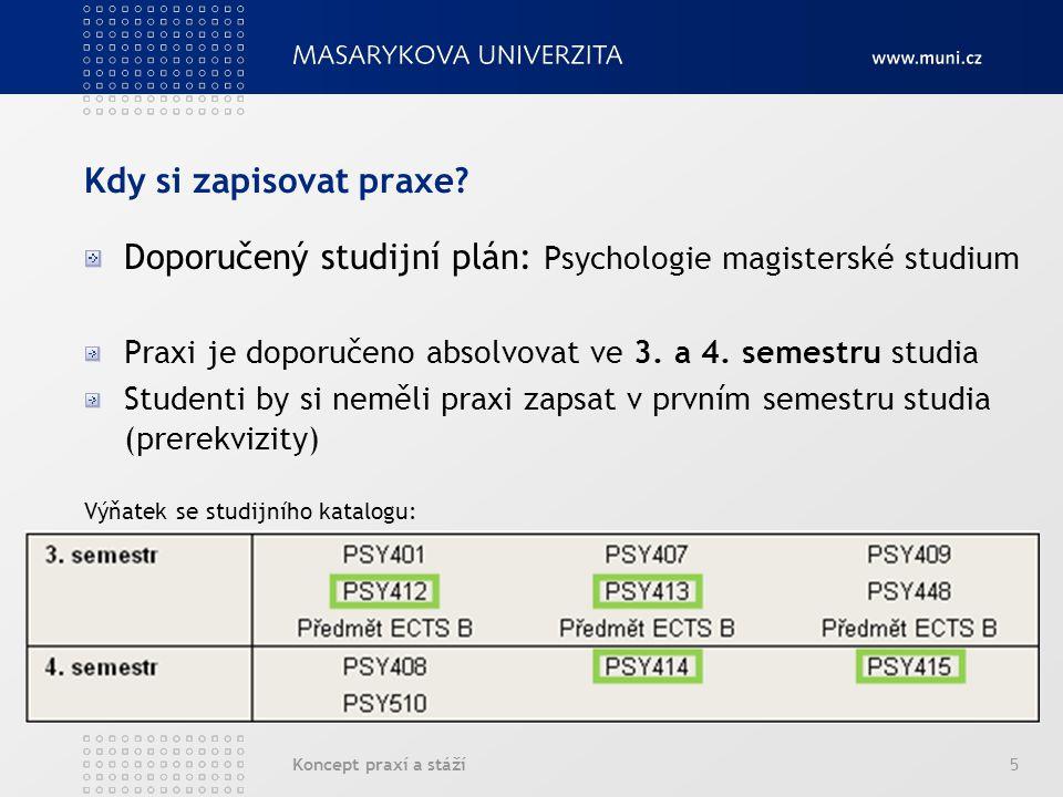 Koncept praxí a stáží5 Kdy si zapisovat praxe? Doporučený studijní plán: Psychologie magisterské studium Praxi je doporučeno absolvovat ve 3. a 4. sem