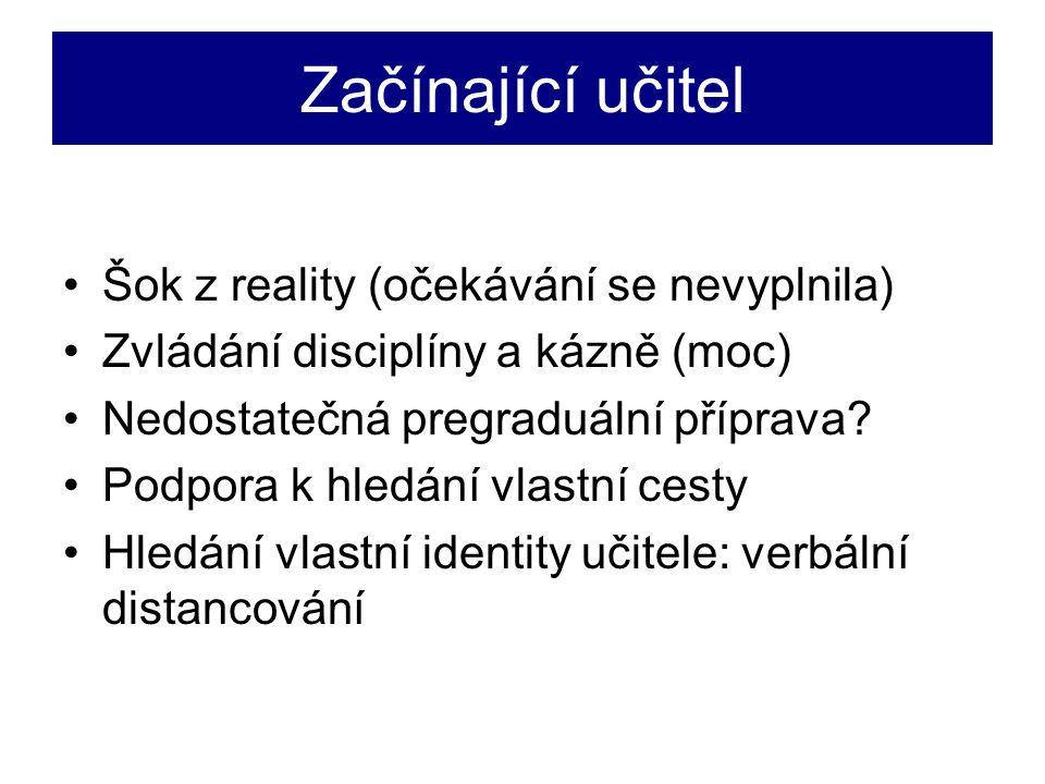 Začínající učitel Šok z reality (očekávání se nevyplnila) Zvládání disciplíny a kázně (moc) Nedostatečná pregraduální příprava.