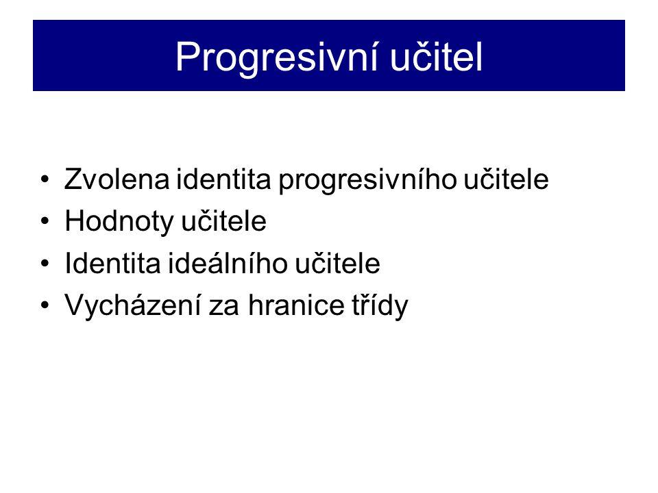 Progresivní učitel Zvolena identita progresivního učitele Hodnoty učitele Identita ideálního učitele Vycházení za hranice třídy