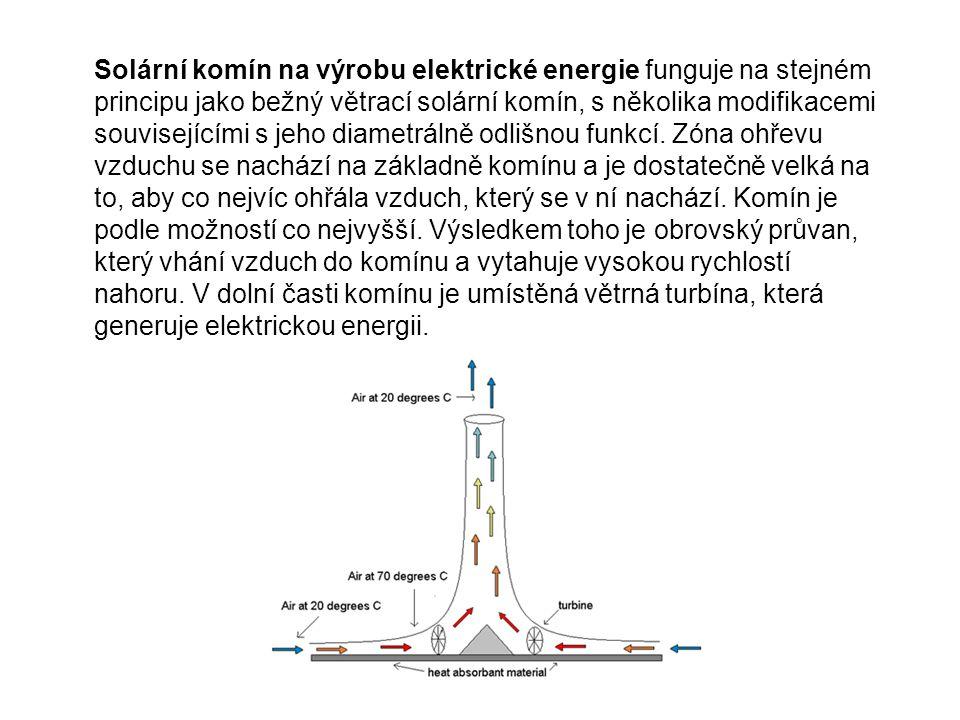 Solární komín na výrobu elektrické energie funguje na stejném principu jako bežný větrací solární komín, s několika modifikacemi souvisejícími s jeho