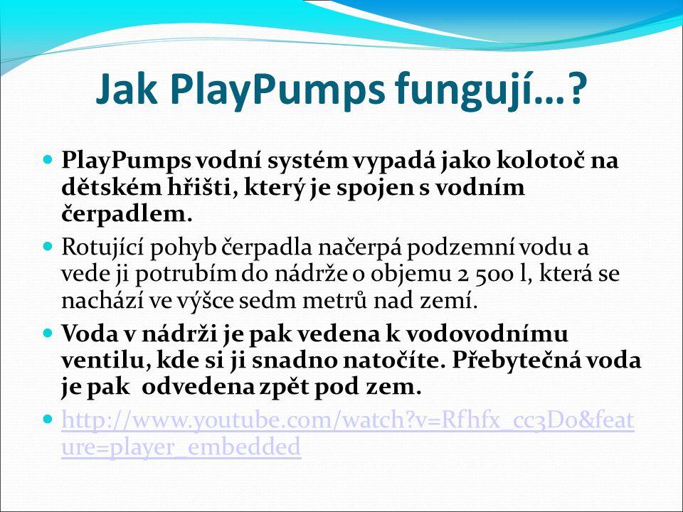 PlayPumps vodní systém vypadá jako kolotoč na dětském hřišti, který je spojen s vodním čerpadlem. Rotující pohyb čerpadla načerpá podzemní vodu a vede