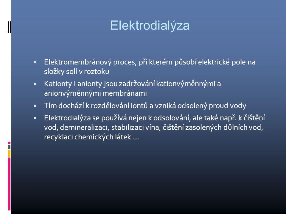 Elektrodialýza  Elektromembránový proces, při kterém působí elektrické pole na složky solí v roztoku  Kationty i anionty jsou zadržování kationvýměnnými a anionvýměnnými membránami  Tím dochází k rozdělování iontů a vzniká odsolený proud vody  Elektrodialýza se používá nejen k odsolování, ale také např.