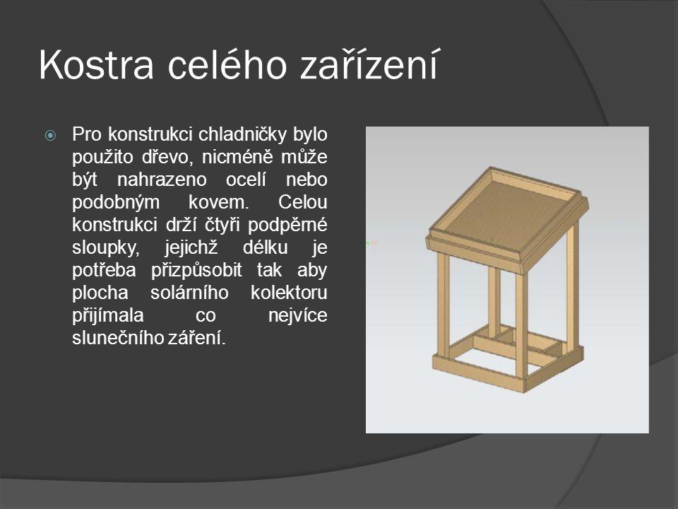 Kostra celého zařízení  Pro konstrukci chladničky bylo použito dřevo, nicméně může být nahrazeno ocelí nebo podobným kovem.