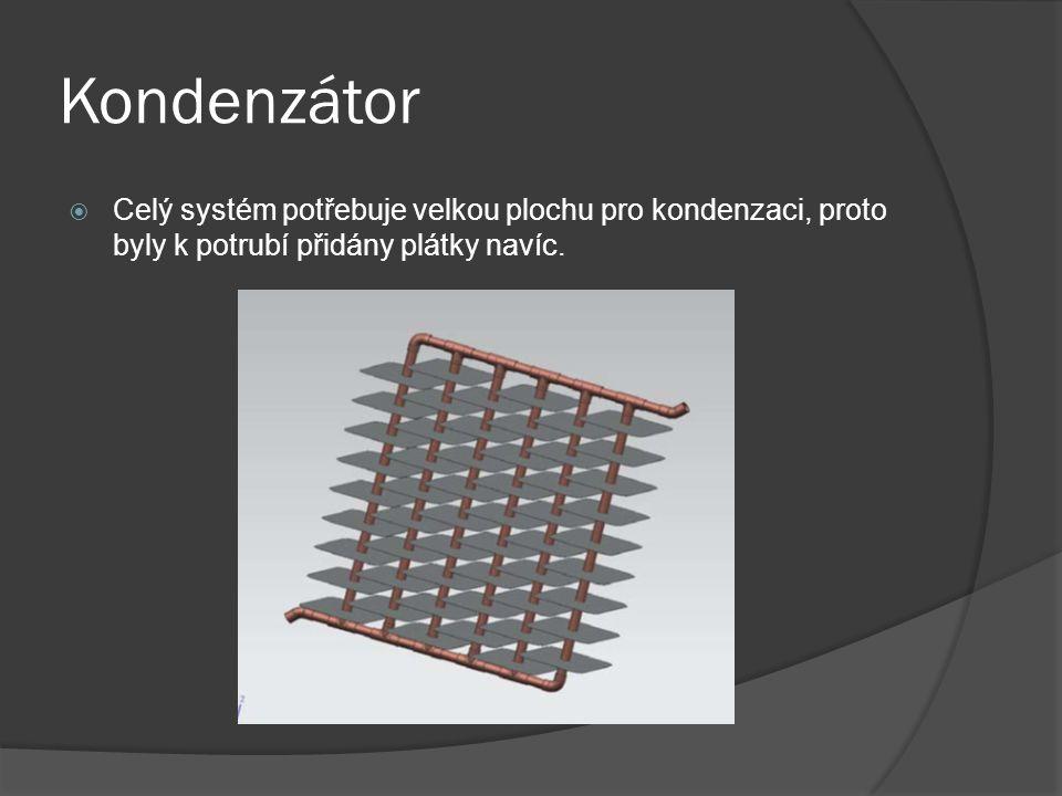 Kondenzátor  Celý systém potřebuje velkou plochu pro kondenzaci, proto byly k potrubí přidány plátky navíc.