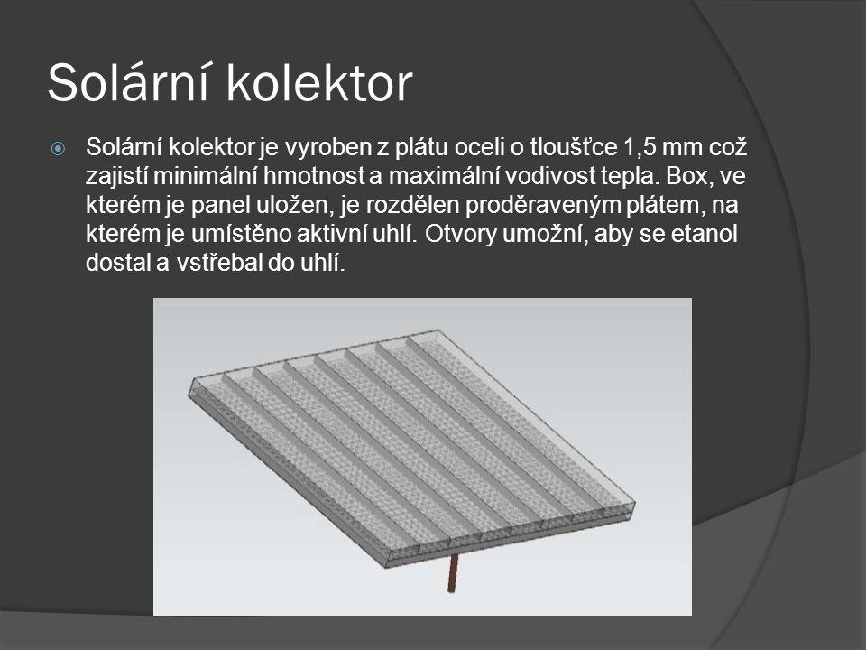 Solární kolektor  Solární kolektor je vyroben z plátu oceli o tloušťce 1,5 mm což zajistí minimální hmotnost a maximální vodivost tepla.