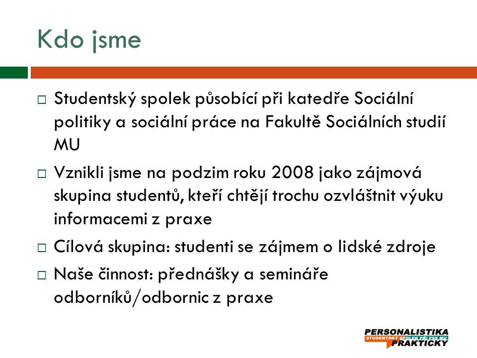 Kdo jsme  Studentský spolek působící při katedře Sociální politiky a sociální práce na Fakultě Sociálních studií MU  Vznikli jsme na podzim roku 200