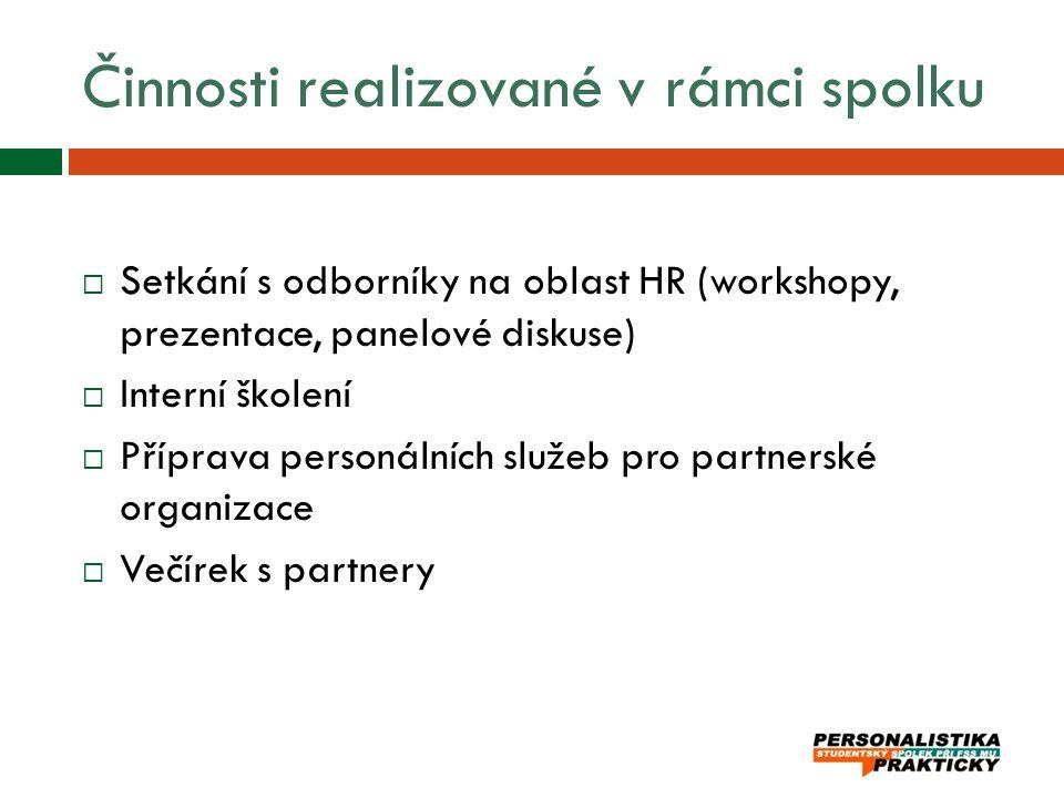 Činnosti realizované v rámci spolku  Setkání s odborníky na oblast HR (workshopy, prezentace, panelové diskuse)  Interní školení  Příprava personál