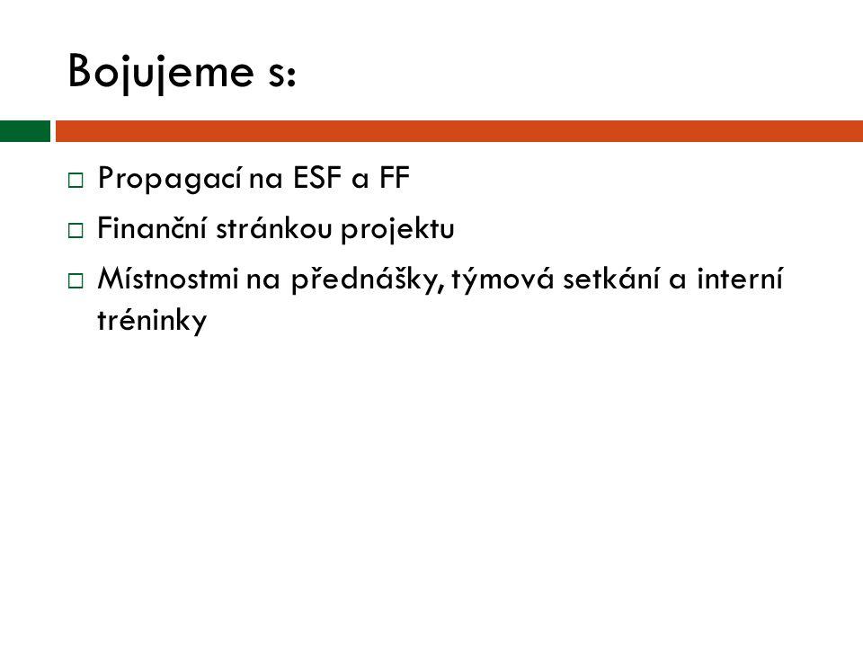 Bojujeme s:  Propagací na ESF a FF  Finanční stránkou projektu  Místnostmi na přednášky, týmová setkání a interní tréninky