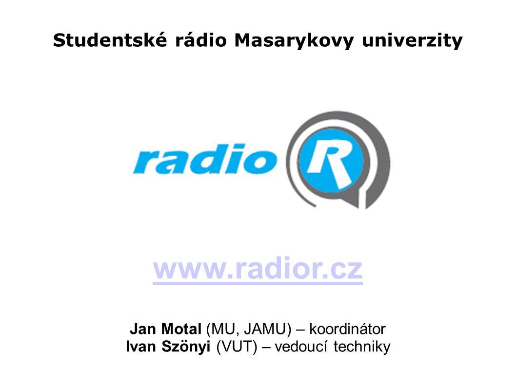Studentské rádio Masarykovy univerzity www.radior.cz Jan Motal (MU, JAMU) – koordinátor Ivan Szönyi (VUT) – vedoucí techniky