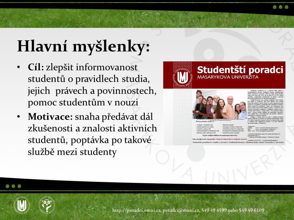Hlavní myšlenky: Cíl: zlepšit informovanost studentů o pravidlech studia, jejich právech a povinnostech, pomoc studentům v nouzi Motivace: snaha předávat dál zkušenosti a znalosti aktivních studentů, poptávka po takové službě mezi studenty