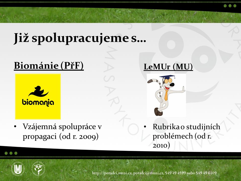 Již spolupracujeme s… Biománie (PřF) Vzájemná spolupráce v propagaci (od r.