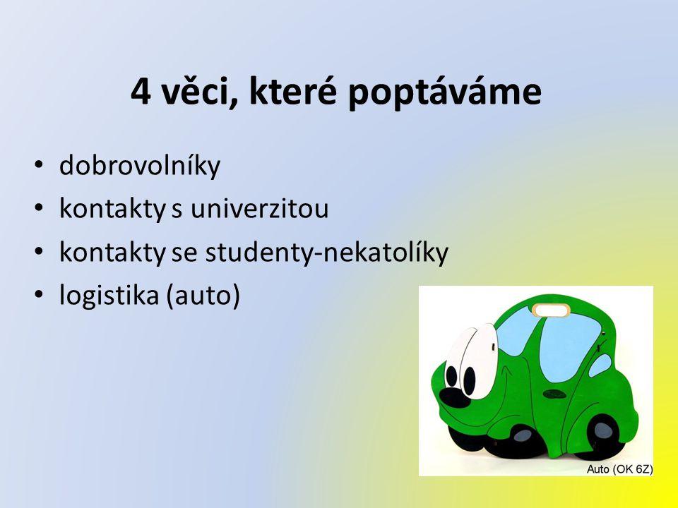 4 věci, které poptáváme dobrovolníky kontakty s univerzitou kontakty se studenty-nekatolíky logistika (auto)