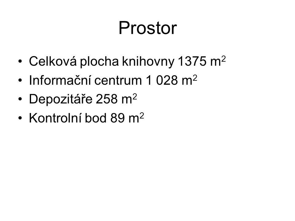 Prostor Celková plocha knihovny 1375 m 2 Informační centrum 1 028 m 2 Depozitáře 258 m 2 Kontrolní bod 89 m 2